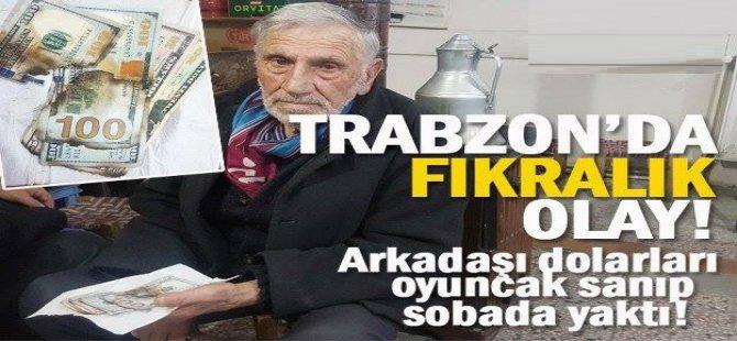 Trabzon'da fıkra gibi olay.. Dolarları sobada yaktılar