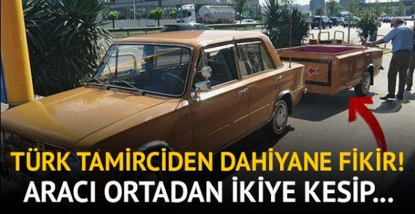 Türk tamirciden dahiyane fikir! Aracını ortadan ikiye kesip