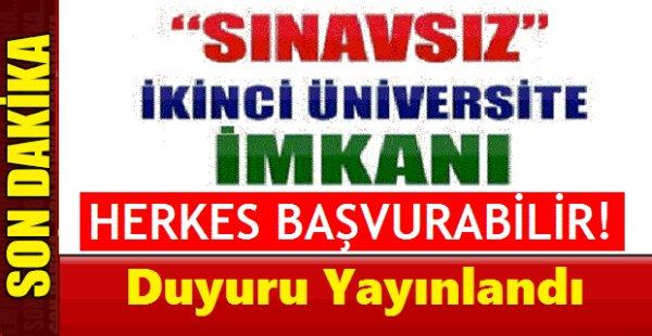 İkinci Üniversite Başvuru ve Kayıt Duyurusu 2019