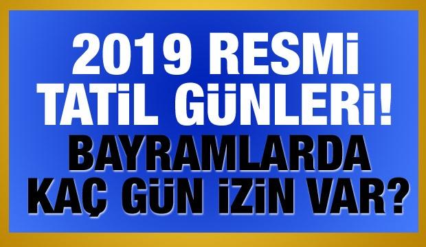 2019 yılının resmi tatil günleri Bol Bol Tatil