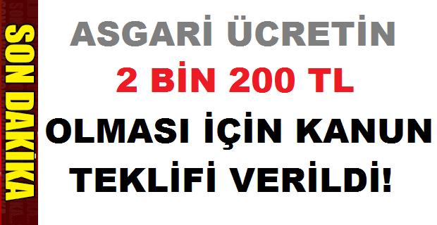 Asgari Ücretin 2200 TL Olması için Kanun Teklifi Verildi