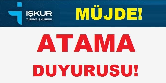 Türkiye İş Kurumu Genel Müdürlüğü (İŞKUR) 2019 Atama Duyurusu