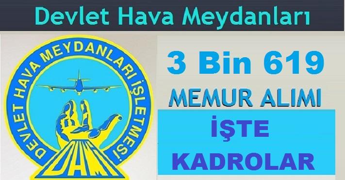 Devlet Hava Meydanları İşletmesi DHMİ 3 Bin 619 Kamu Personeli Alımı
