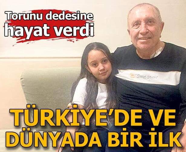 Türkiye'de ve dünyada bir ilk! 11 yaşındaki torundan dedeye nakledildi