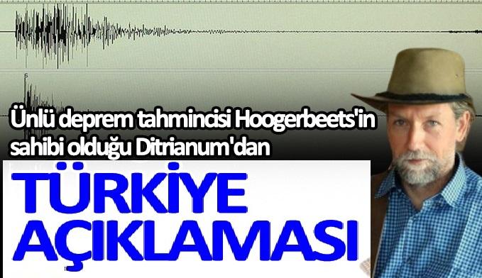 Ünlü deprem tahmincisi Frank Hoogerbeets'in sahibi olduğu Ditrianum'dan Türkiye deprem açıklaması
