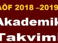 Atatürk Üniversitesi AÖF 2018 – 2019 Akademik Takvimi