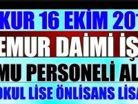 İşkur 16 Ekim 218 İşkur ilanları