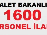 Adalet Bakanlığı 1600 Personel Alım ilanı Yayınladı