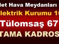 Devlet Hava Meydanları 502 ,Elektrik Kurumu 109,Tülomsaş 67 Atama Kadrosu Verildi!