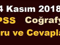 4 KASIM 2018 KPSS Coğrafya Soru Ve Cevapları