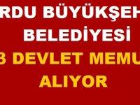 Ordu Büyükşehir Belediyesi 23 Devlet Memuru Alım ilanı