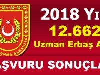 2018 Yılı Uzman Erbaş Alımı Başvuru Sonuçları