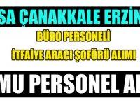 Bursa Belediye, Çanakkale Belediye  Erzincan Belediye Başkanlığı 9 daimi süreli kamu personeli alımı