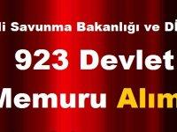 Milli Savunma Bakanlığı ve DİB toplam 923 Devlet Memuru Alımı Yapıyor