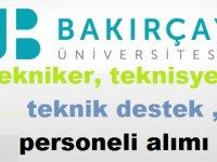 İzmir Bakırçay Üniversitesi Tekniker ,teknisyen,teknik destek personeli alımı