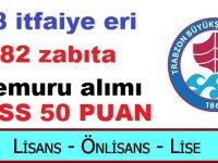 Trabzon Büyükşehir Belediyesi 88 itfaiye eri alımı ile 82 zabıta memuru alımı