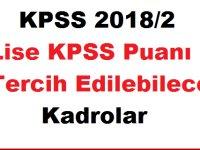 KPSS 2018/2 Lise KPSS Puanı ile Tercih Edilebilecek Kadrolar