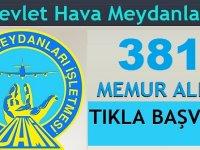 Devlet Hava Meydanları İşletmesi DHMİ 381 Kamu Personeli Alım ilanı
