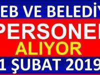 1 Şubat 2019 İşkur Belediye ve MEB Kamu Personeli Alımı