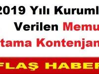 2019 Yılı Kurumlara Verilen Memur Atama Kontenjanları
