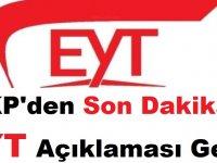 AKP'den Son Dakika EYT Açıklaması Geldi