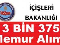İçişleri Bakanlığı 3 Bin 375 Kamu Personeli Alımı