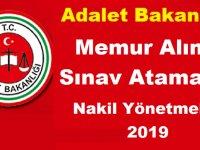 Adalet Bakanlığı Memur Alımı Sınav Atama ve Nakil Yönetmeliği 2019