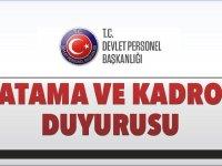 Devlet Personel Başkanlığı DPB Yeni Atama Duyurusu