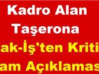 Kadro Alan Taşerona Hak-İş'ten Kritik Zam Açıklaması!