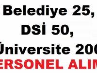 Belediye 25 ,DSİ 50,  Üniversite 200 Kamu İşçi Alımı