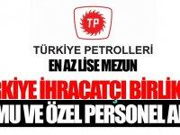 Türkiye Petrolleri ve İhracatçı Birliği Kamu Personeli Alımı
