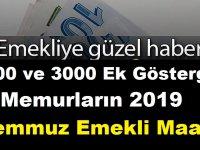 2200 ve 3000 ek göstergeli memurların 2019 temmuz zamlı emekli maaşı