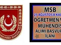 Milli Savunma Bakanlığı (MSB) Öğretmen ve Mühendis sınıfı subay alımı