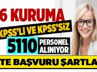 Eylül 2019 iş ilanları -KPSS'li ve KPSS'siz 5110 personel alıyor