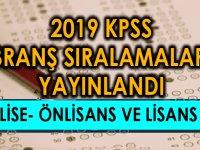 2019 KPSS Lise- Önlisans ve Lisans Branş Sıralamaları Yayınlandı