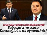 Ünlü anket şirketi vatandaşlara sordu: Babacan'a mı yoksa Davutoğlu'na mı oy verirsiniz?