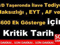 4/D Taşeron'da İlave Tediye Haksızlığı , EYT , AF ve 3600 Ek Gösterge için Kritik Tarih
