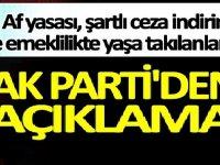 Ak Parti'den af yasası, şartlı ceza indirimi ve emeklilikte yaşa takılanlar EYT açıklaması