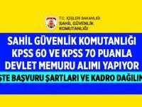 Sahil Güvenlik Komutanlığı KPSS 60 ve KPSS 70 Puanla Devlet Memuru Alıyor