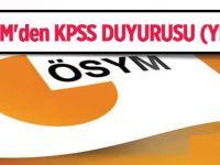 ÖSYM'den KPSS duyurusu