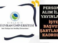 Kırşehir Ahi Evran Üniversitesi rektörlüğü 51 araştırma ve öğretim görevlisi alınacağı açıklandı.