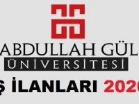 Abdullah Gül Üniversitesi Daimi İşçi Alım İlanları 2020