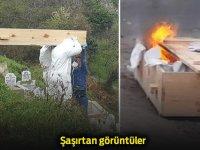 Cenazeden sonra tabutu yaktılar