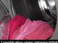 Çocuğunu çamaşır makinesinde kilitli tutan baba