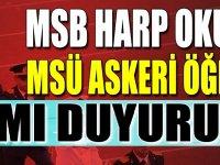 MSB Harp Okulları ve MSÜ Askeri Öğrenci Alımları Resmi duyurusu