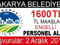 Sakarya Belediyesi Engelli Kamu Personel Alımı 2016
