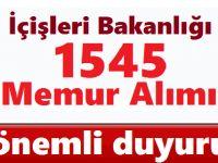 İçişleri Bakanlığı 1545 Personel Alımı Sözlü Sınav Listesi ve Tarihleri