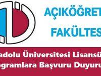 AÖF 2017-2018 Öğretim Yılı Güz Dönemi Anadolu Üniversitesi Lisansüstü Programlara Başvuru Duyurusu